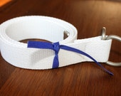 "Mens White Belt Webbing Ladies  D Ring 1.25"" Wide - tuteesribbon"