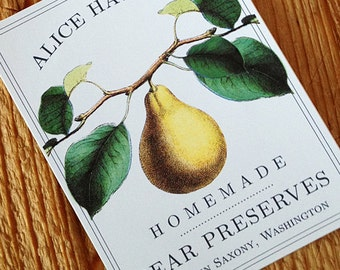 Classic Pear Canning Label, Sticker, or Canning Tag, set of 18