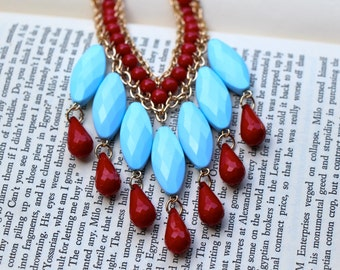 Baby Blue & Red Bubble Bib Statement Necklace