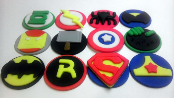 Superhero, Birthday Party, Personalized, Edible Fondant Cookie or Cupcake Toppers