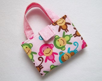 Pink Monkey print Crayon Wallet. Free USPS first class Shipping/ Ready to Ship