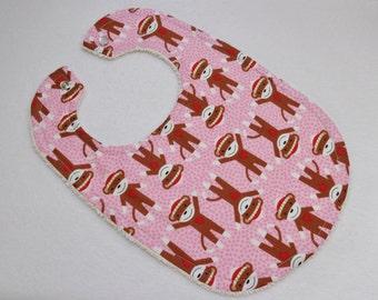 Pink Sock Monkey Print bib. Ready to ship