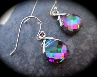 SALE Swarovski Crystal Electra Briolette earrings Sterling Silver Earrings Pink Green Blue Wedding Jewelry Prom Jewelry