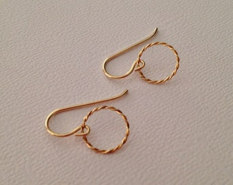 Tiny Gold Circle Earrings -Tiny Gold Earrings -Gold Circle Drop Earrings