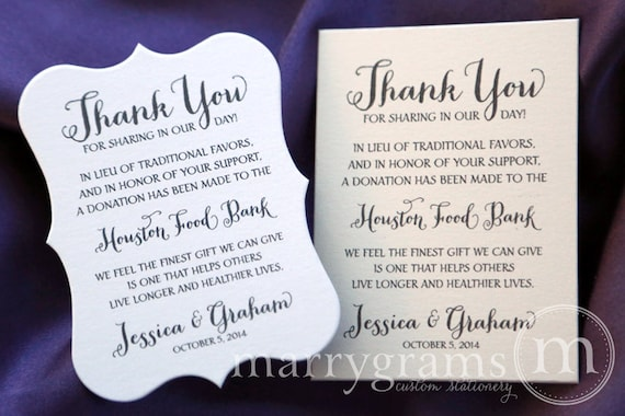 In Lieu of Favors Wedding Favor Donation Cards - Reception Info Tag ...