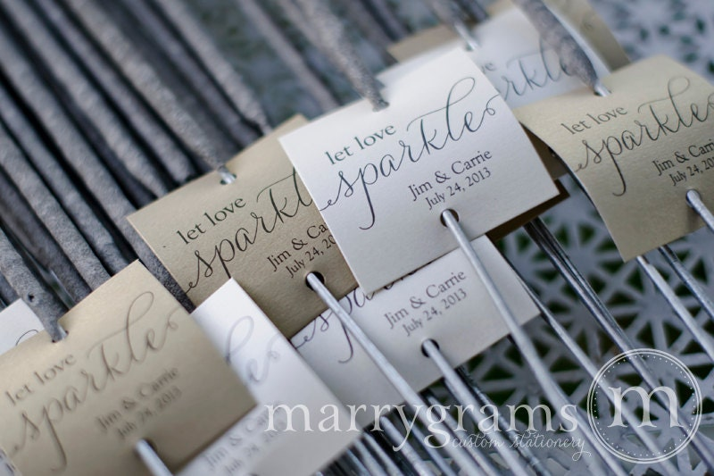 Sparkler Tags Let Love Sparkle Wedding Favor Script