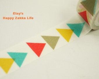 Japanese Washi Masking Tape - Colorful Triangle Line - 5.5 yards