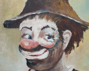 How Now, Brown Clown -- Vintage Painting on Canvas by M Watson