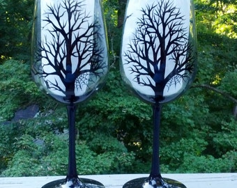 Spooky Halloween black tree silhouette hand painted wine glasses.