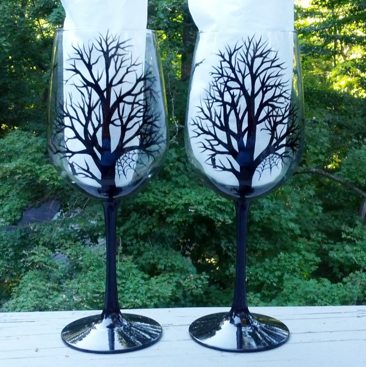Spooky Halloween Black Tree Silhouette Hand Painted Wine
