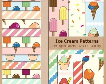 Digital Scrapbook Paper Pack - ICE CREAM PATTERNS - Instant Download