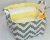 "LG Diaper Caddy 10""x10""x7""  Fabric Storage bin, Fabric Organizer Chevron Zig Zag  Stone Grey/White Light Yellow Lining"