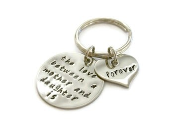 "SALE: Mother and Daughter Keychain ""The love between..."" hand stamped quote keychain by Moonstone Creations"