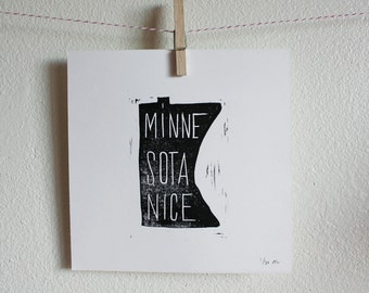 Simple Linoleum Print Poster - Minnesota Nice