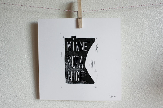 Linoleum Print Poster - Minnesota Nice
