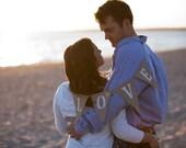 Love Burlap Banner Bunting Glittered White - wedding garland - photo prop