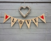 Love burlap banner bunting with red hearts, Valentines banner, Wedding Garland