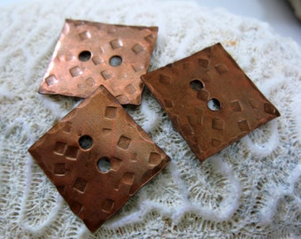 2 Square Hammered Copper Buttons, Handmade Buttons