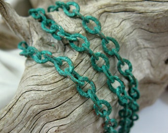 COPPER Chain, 6mm OVAL CABLE, Verdigris Patina, Bulk Chain choose 6 Inches to 36 Inches