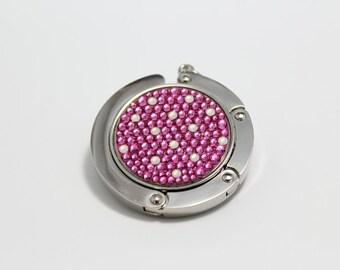 Polka Dot foldable bag hanger, purse hook, bag holder made with Swarovski flatback crystals - Pink