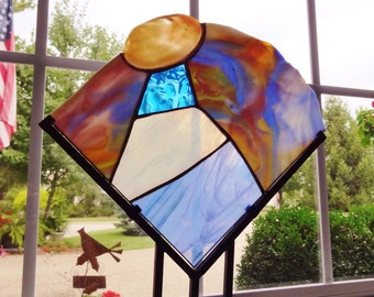 Oyster shell stand-alone stained glass sculpture