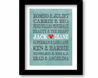 Famous Couple Print- Grunge, Art Print Name - Famous Lovers - custom wedding gift - engagement gift, Bridal Shower Gift