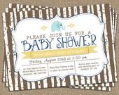 elephant baby boy shower invitation, blue/yellow/brown, shower invitations, digital, printable file