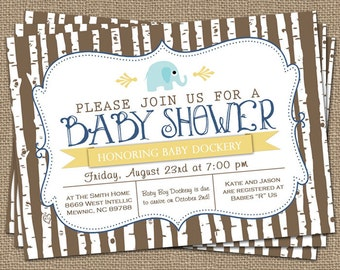elephant baby boy shower invitation, blue/yellow/brown, shower invitations, digital, printable file