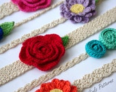 Easy Crochet headband pattern - 6 headbands and 3 flower patterns included -Newborn to Adult sizing - Instant Download - pattern - 216