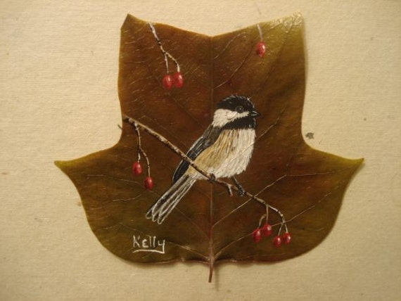 Chickadee Hand Painted On A Leaf Matted And Fromed 6 X