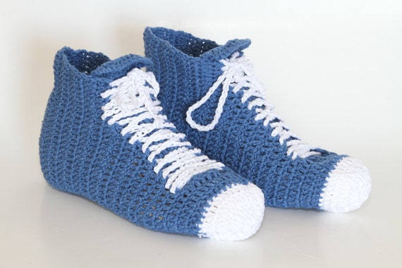 Crochet High Top Sneakers Free Pattern : Crocheted Unisex Sneaker high top shoes Unisex by etty2504