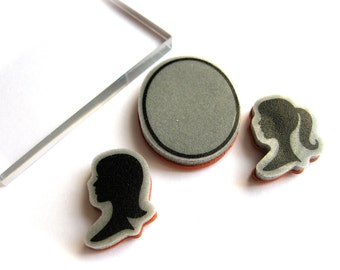 Retro Women Profile Silhouette Rubber Stamps Set-Ponytail, 1950's Flip, & Oval Cameo-W/ Clear Block for Stamping-Mom-Barbie-Nancy Drew Stamp