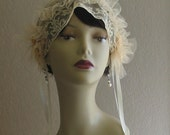Reserved 1920s Style Antique Lace and Wax Callalily Flowers Wedding Headpiece Headband