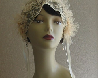 1920s Style Antique Lace and Wax Callalily Flowers Wedding Headpiece Headband