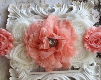 Peach Maternity Sash- Baby Girl Stunning Belly Photo Prop- Vintage Sash- Peachy Belly Band- Baby Shower- Mommy to Be- Newborn - Photo Prop