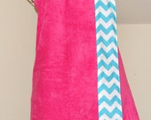 Monogrammed Towel Wrap with an Aqua and White Chevron Trim