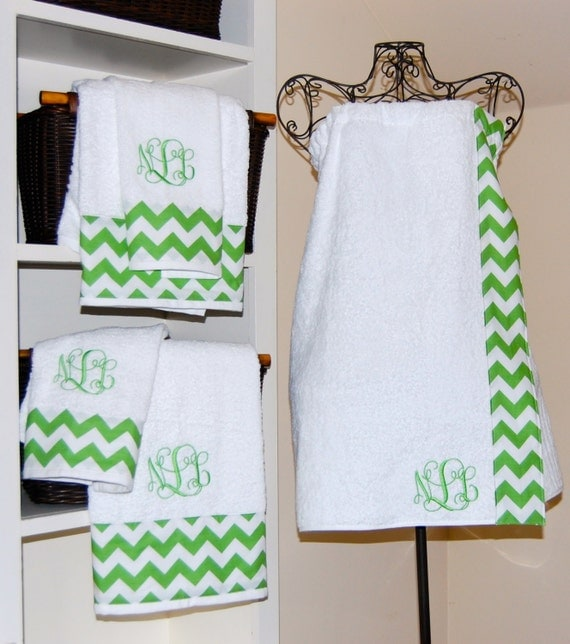 Monogram Towels For Bathroom: Monogrammed Chevron Towel Wrap And Towel Set By Smberrier