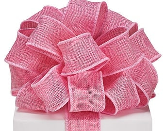 "5YDS Pink BURLAP 1-1/2"" Wired Wire Edge Ribbon Bubblegum Rose"