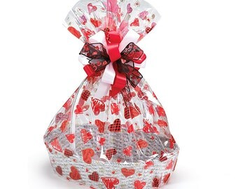"""20""""x24"""" Red & Black Large HEARTS Clear Gift BASKET BAGS Cello Drop-In (Free Shipping!)"""