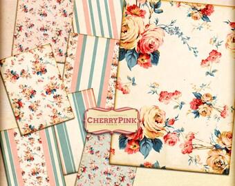 Floral Wallpaper digital collage sheet, 5 x 7 inch instant printable images, floral digital backgrounds