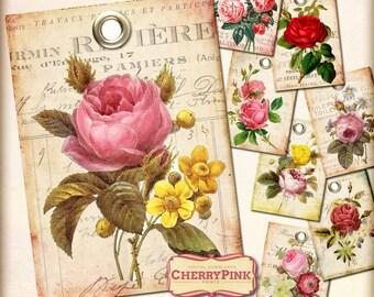Rose digital tags, DIY printable tags, shabby chic printable digital download gift tags