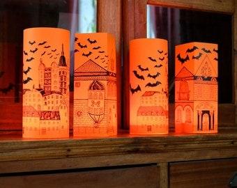 Set of 4 HALLOWEEN PAPER LANTERNS Hand cut Originally Hand Drawn - just add candles
