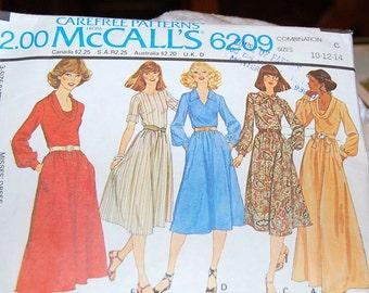 Vintage McCalls Dress Pattern 6209 -  Used -  Sizes 10-12-14  - 1978