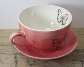 20% OFF-Porcelain Red African Red Glider Butterfly Tea Cup and Saucer or Mug - FaithAdamsCeramics