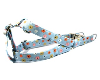 Dog Harness, TINY FLOWERS in Blue Dog Harness, Handmade Dog Harness, Dog Step in Harness, Step in Dog Harness