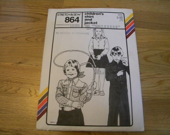 1979 Stretch and Sew Pattern 864 childs shirt and jacket pattern