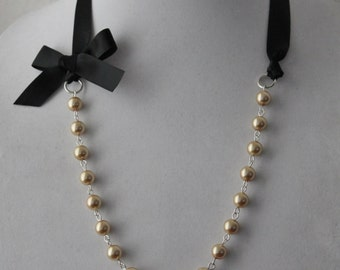 Gold Pearl and Black Ribbon Bow Necklace