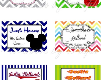 School Supply Labels / stickers - Qty 20 - 6 designs to choose from!  Personalized!