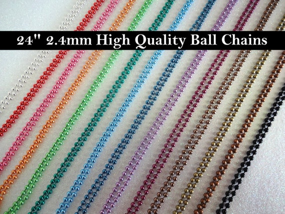 THREE 24 inch Ball Chain Necklaces 2.4mm size Avail in Red Orange Green Blue Purple Pink Brown Silver Black