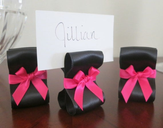 Wedding Place Card Holders - One Hundred (100) with Black and Hot Pink Satin Ribbon  - Customize Your Colors